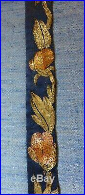 Fine Large 19th C. Antique Chinese Silk Embroidery Apron Textile
