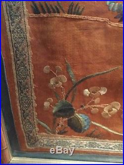 Framed Antique Chinese Qing Dynasty Silk Embroidery Panel Immortal Riding Qilin