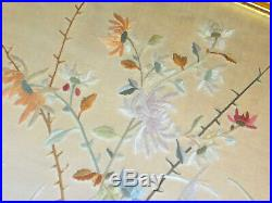 Framed Chinese Silk Embroidery of Crane Butterfly Flowers
