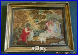 French Silk Petit Point Embroidery, A Rare Antique Item Circa Lt. 1700's Framed