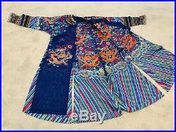 Gorgeous Antique Qing Dynasty Chinese Silk Embroidery Court Robe With Dragons