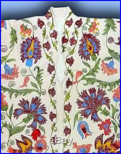 Gorgeous Uzbek Fully Silk Embroidered Robe Chapan From Bukhara T631