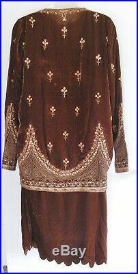 Gorgeous Vintage 1920s 2 Piece Silk Velvet Dress withElaborate Embroidery