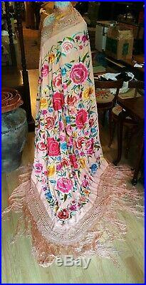 Great Piano Shawl Of Manila. Embroidered Silk. Philippines End XIX Century
