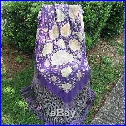 HUGE Antique PURPLE Silk Piano Shawl Bright Florals VTG