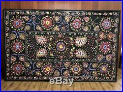 Hand Embroidered Wall Hanging Uzbek Silk Suzani Vintage Embroidery