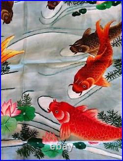 Handwoven Silk Chinese Embroidery 9 koi fishes (200 cm x 91 cm) #5