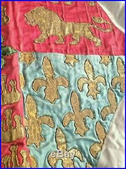 Heraldic Flag Silk Embroidery Gold Trim Nobility Antique XVIII XIX Century