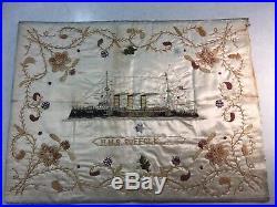 Hms Suffolk Rare Silk Embroidery No Reserve Antique Good Size