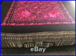 Huge Black Silk Manton de Manilla Flamenco Canton Piano Shawl Pink Floral Motif