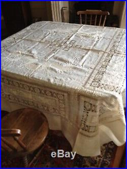 Huge tunning antique French silk tablecover with embroidery dragons