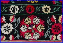 LARGE Suzani rug wall hanging Vintage Uzbek silk handmade embroidery suzani