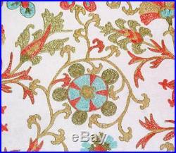 LARGE UZBEK SILK EMBROIDERED SUZANI BEDSPREAD TAPESTRY 86.6x94.4 V3308