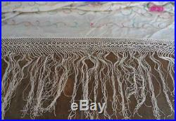LG Vintage Cream Silk Embroidered Piano Scarf Pink Peacock Fringe Canton Shawl