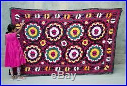 Large Suzani wall hanging Vintage Uzbek silk handmade embroidery suzani blanket