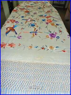 LargeANTIQUE SILK hand embroidered PIANO SHAWL Manton de Manila BIRDS reversible