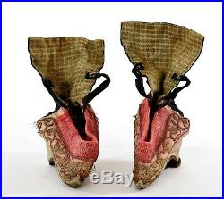 Late 19C Chinese Silk Embroidery Bound Feet Red Lotus Shoes Gold Wires