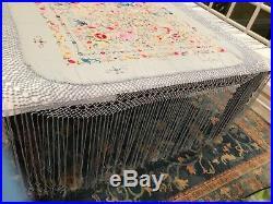 Lovely Vintage Blue Silk Spanish Flamenco Manton Piano Shawl Birds Hand Worked