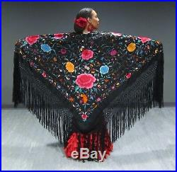 Museum quality hand embroidered Flamenco shawl (manton). NEWLY REDUCED PRICE