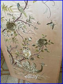 Nice Antique Chinese Embroidered Silk Qing Dynasty Embroidery Pink Signed