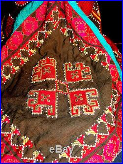 Old Central Asian Kohistan Child's Hat Silk Embroidered