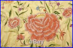 Old Chinese Silk Embroidery Textile Piano Shawl Tablecloths Manton Manila Fringe