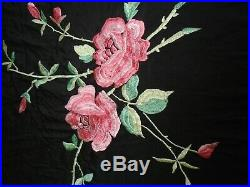 Orig. Victorian Edwardian/20's Piano shawl black rose embroidered Flamenco Gypsy