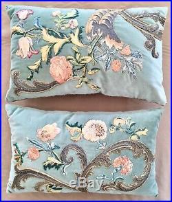 Pair Of 17th Century Italian Silk And Metallic Thread Anitque Pillows
