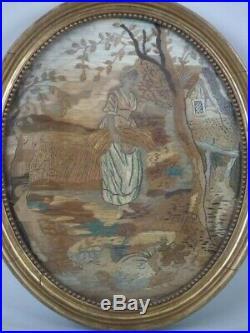 Pair of Georgian Antique Silkwork Embroideries