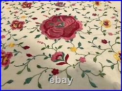 Piano Shawl Antique Silk Crepe De Chine Floral Roses Embroidered Classic