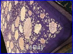Piano Shawl Antique Very Rare Violet Victorian Silk Canton Manton De Manila