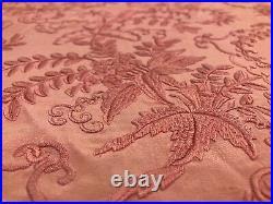 Piano Shawl Rare Fine Antique Victorian Coral Pink Silk Canton Manton De Manila
