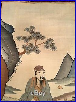 RARE ANTIQUE EARLY 20th CHINESE SILK KESI TAPESTRY EMBROIDERED EMBROIDERY 104 cm