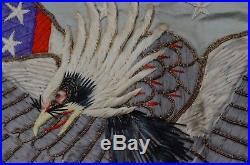 c0d9cdbe770 RARE Antique Embroidery Hand Sewn American Flag   Eagle Tobacco Cigar Silk  flags