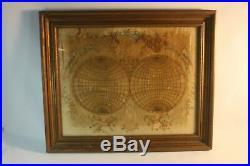 Rare Antique 18thc Silk Embroidered Needlework Tapestry Sampler World Map