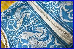 Rare Antique Italian Assisi Dragon Embroidery Textile Shawl Linen Silk