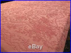 Rare Antique Victorian Coral Pink Silk Canton Piano Shawl Manton De Manila
