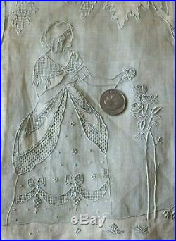 Rare Antique c1920s Swiss Appenzell Hand Embroidered CaseWoman & Roses7Square