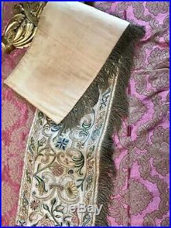 Renaissance Embroidery Antique Embroidered Valance Silk Gold Metallic