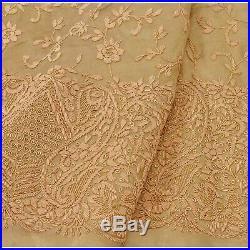 Sanskriti Vintage Long Skirt Pure Tissue Silk Hand Embroidery Unstitched Lehenga
