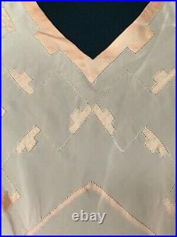 Stunning 1930s Art Deco French Handmade Silk Gown Lingerie Hand embroidery