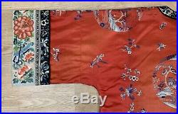 Stunning Antique Chinese Qing Dynasty Red Roundel Silk Embroidery Robe