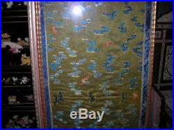 Stunning Antique Qing Dynasty Chinese Silk Embroidery Tapestry Textile 22x60