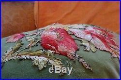 Stunning Antique Victorian silk needlepoint cushion. Pillow