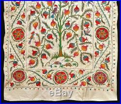 Stunning Uzbek Silk Hand-embroidery Suzani With Fish & Tree Of Life A7914