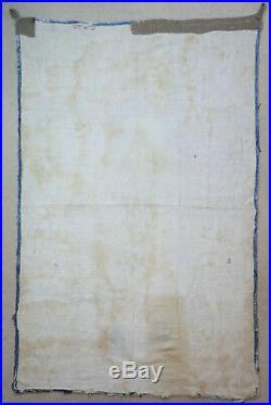 UZBEKISTAN, ANTIQUE 19thC EMBROIDERY SUZANI PRAYER MAT WALL HANGING, SILK COTTON
