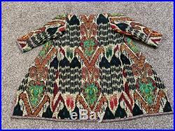 Uzbek Traditional Silk Adras National Embroidery Robe Dress Coat Jacket Chapan
