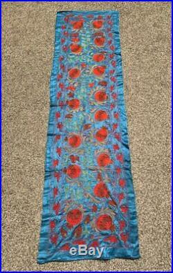Uzbek Vintage Original Silk Wall Hanging Blue Embroidery Handmade Suzani