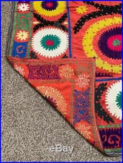 Uzbek Vintage Silk Hand Embroidery Wall Hanging Gift Tablecloth Suzani