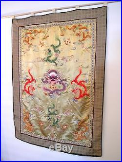 Vtg Large Silk Chinese 5 Toed Dragon Embroidery Tapestry Wall Hanging Kesi